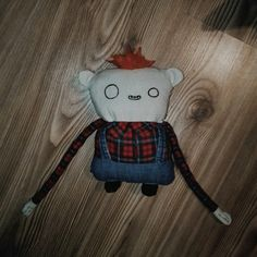 full designed,of hald made soft toy by me #softtoy #toy #kids #children #boy #fluffy #design #cute #scary #spooky #ginger #wool #felting #jacket #longhands