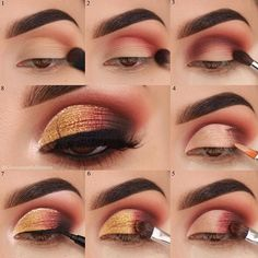 gold matte eyeshadow looks ideas step by step for beginners, eye makeup for prom. - gold matte eyeshadow looks ideas step by step for beginners, eye makeup for prom. Daytime Eye Makeup, Prom Eye Makeup, Eye Makeup Steps, Simple Eye Makeup, Natural Eye Makeup, Wedding Makeup, Hair Makeup, Eyeshadow Tutorial For Beginners, Beginner Eyeshadow