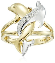 10k TwoTone Gold Diamond Accent Intertwined Dolphin Ring Size 7 -- Click image for more details.Note:It is affiliate link to Amazon.