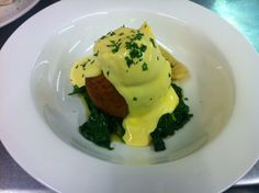 Home made Salmon  Haddock Fishcake, Wilted Spinach, Poached Egg, Hollandaise Sauce - £4.95