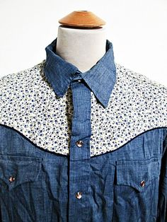 Vintage 80s Floral Flower Pattern Yoke Country Music Western Cowboy Shirt XL