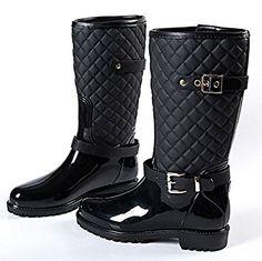 Verschraubungen in PVC Wasser Wasser Schuhe Stiefel Diamant Gitter Mode Damenschuhe Stiefel aus wasserdichte Schuhe Freizeitschuhe mit rutschfest und wasserdicht , black , 39