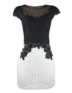 Vestido Saia Paetê Tule Bordado Inquérito, com aplicação de renda soutache preta…
