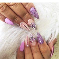 Pink nails, swarovski, glitter, pink chrome, matte pink Matte Pink, Pink Nails, Swarovski, Nail Designs, Chrome, Glitter, Beauty, Pink Nail, Nail Design