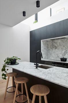 Dot + Pop kitchen close of that void. Walls using Gyprock Superchek™ Pops Kitchen, Kitchen Stools, New Kitchen, Bar Stools, Kitchen Dining, Timber Outdoor Furniture, Timber Table, Diy Blinds, Diy Curtains