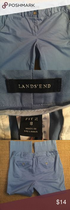 Lands End Cropped Blue Khakis Size 8 Lands End cropped blue stretch Khakis Size 8. Fit 2. Lands' End Pants Ankle & Cropped