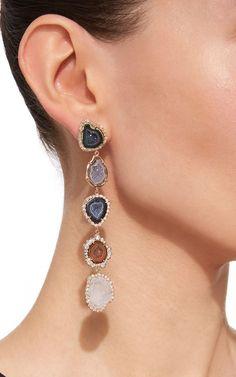Five Petite Geode and Irregular Diamond Earrings by Kimberly McDonald