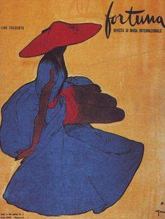 Illustration by René Gruau, Fortuna Magazine.