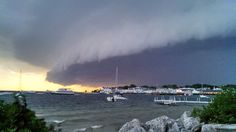 Storm shelf over Mackinaw Island yesterday 7/18/2013. We were tent camping in the UP at Brevort Lake during this storm. Gusts were so strong that a semi tipped over on the Mackinac Bridge.