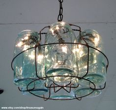 mason jars chandelier, love this! It represents our love of gardening and preserving our, food for winter.
