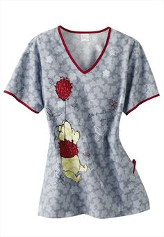 Cherokee Silly Old Bear print v-neck scrub top.