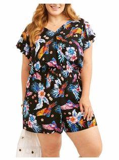 b11fb6ec07d3 Details about NEW Women s Plus Size Renn Sleeveless Floral Print Romper  White Yellow 1X 2X 3X