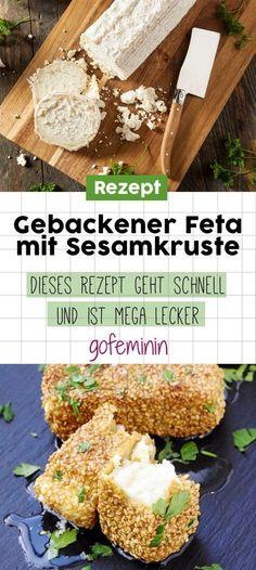 Gebackener Feta mit Sesamkruste: Dieses Rezept ist schnell gemacht und mega lecker! #feta #gebackenerfeta #sesamkruste #rezeptideen #fingerfood