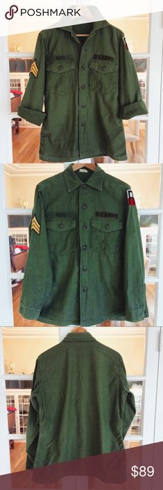 1960s Vintage Army Military Issued Jacket Vintage US military jacket purchased in Barcelona Spain at a vintage boutique ~ Rizzo name tag SO Rad ~ Fits women S/M 6/8 ~ Excellent vintage condition Vintage Jackets & Coats