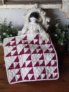 Wonderful Antique Cranberry Red DOLL QUILT Flying Geese TINY PIECES 8x8