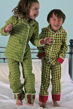 Sewing pattern for boys and girls winter pajamas button front ...