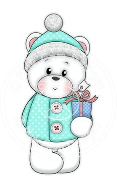 Digi Stamp Polo with Gift. Makes Cute Papercraft and Digital Scrapbooking Projects. Christmas Cards. Baby Polo Bear