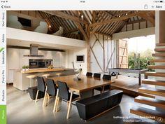 Barn conversion in Wilmslow showing gallery/mezzanine above kitchen
