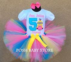 Little Pink Minion Princess Girls Birthday Tutu Outfit