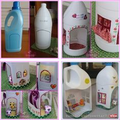 Turn Plastic Jugs into Cute Dollhouses for Your Little Girl - http://www.amazinginteriordesign.com/turn-plastic-jugs-cute-dollhouses-little-girl/