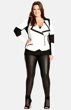 "Chaqueta motera en blanco y negro. Genial!!. ---- ""Plus Size Ponte Moto Jacket (Plus Size)"""