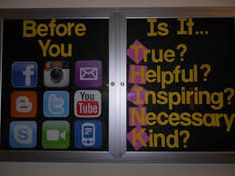 A good middle or high school bulletin board idea, especially with the prevalence of cyber-bullying.