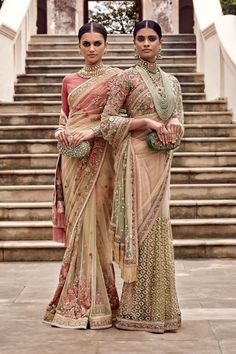 Pretty pastel saris or saress by Sabyasachi Summer 2016. Indian fashion.