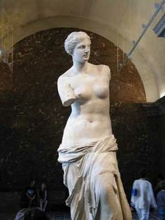 Venus De Milo-  Louvre--100-130 b.c.  depicts Aphrodite the greek goddess of love and beauty.