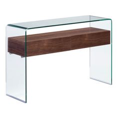 Zuo - Shaman Console Table - The Shaman is everything you could want in a functional and beautiful console table. The clear bent glass top and sides lend modern sophistication, while gracefully suspending a natural walnut shelf. Concealed within the shelf are two storage drawers for corralling necessities such as car keys and dog leashes. The Shaman Console Table's sleek yet ample scale is perfect for placing in an entry hall or narrow passageway. Or use two for unique night stands in the…