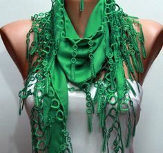 Pigment Green Scarf   - by fatwoman, $13.50
