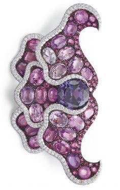 1f32310b7 A MULTI-COLORED SAPPHIRE, RUBY AND DIAMOND POPPY FLOWER BROOCH, BY JAR