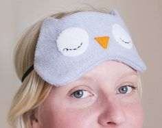 Blue / Gray Owl Sleep Mask, Fleece, Soft