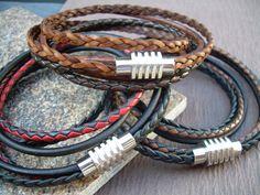 Mens Leather Bracelet Stainless Steel by UrbanSurvivalGearUSA, $26.99