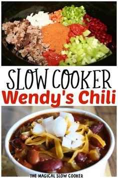Love Wendy's Chili? Try this easy slow cooker recipe and have enough to eat for days. - The Magical Slow Cooker Slow Cooker Ground Beef, Slow Cooker Chili, Slow Cooker Recipes, Crockpot Recipes, Spicy Recipes, Chili Recipes, Copycat Recipes, Copycat Wendy's Chili, Wendys Chili