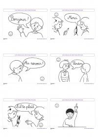La politesse à l'école 6 affiches simples pour rappeler les principales règles de politesse à suivre à l'école et dans la vie de tous les jours.