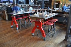 Hure Tables by Vintage Industrial at the Double Barrel Roadhouse in Monte Carlo