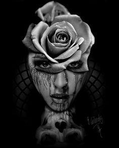 Face | Rose | skull