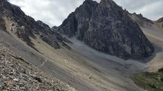 Loose rocks and gravel await on the descant...I personally rather run going down. Cory Pass Loop Banff National Park