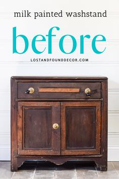 This little old washstand gets a fresh new look with red milk paint! #milkpaint #redpaintedfurniture Red Painted Furniture, Milk Paint Furniture, Diy Furniture Projects, Distressed Furniture, Repurposed Furniture, Furniture Makeover, Painting Tips, Painting Techniques, Living Room Decor On A Budget