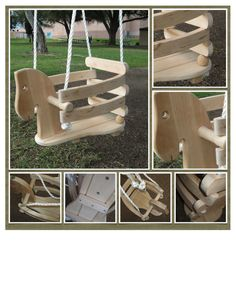 Child wooden horse swing