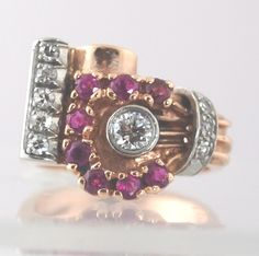 Ruby's Diamonds and Pink gold Ring