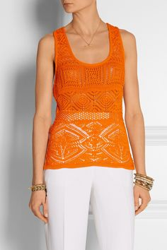 Emilio Pucci | Crocheted cotton-blend top | NET-A-PORTER.COM