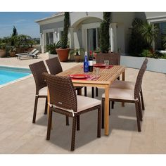 7-Piece Outdoor Table and Chairs Patio Dining Set - Amazonia