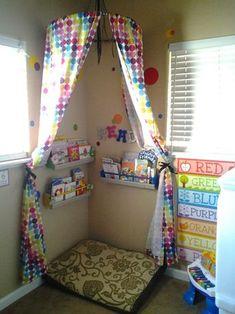 Reading nook for kids Reading Corner Classroom, Reading Nook Kids, Daycare Rooms, Home Daycare, Kids Daycare, School Kids, Classroom Design, Classroom Decor, Diy Curtains