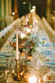 a dreamy candlelit tablescape  Photography by patfureyblog.com, Wedding Planning   Design by bespokeonly.com, Florals by http://www.saipua.com/