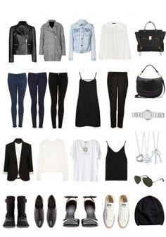 Aquí un fondo armario. Con estas prendas básicas podemos obtener infinitas combinaciones.
