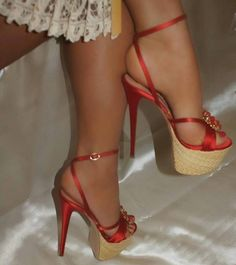 these high-heels red sandals are so pretty on my feet!really lovely and sweet! Sexy High Heels, Beautiful High Heels, Sexy Legs And Heels, Hot Heels, Platform High Heels, Stilettos, Stiletto Heels, Pantyhose Heels, Stockings Heels