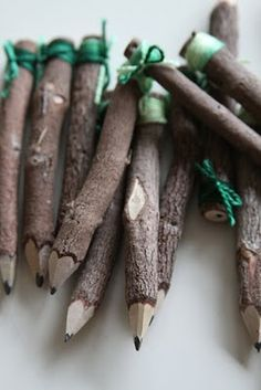Mini twig pencils with ribbon tied on top. Woodland party favors.