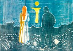 Two Human Beings The Lonely Ones Edvard Munch. Woodcuts