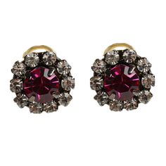 Vintage pink crystal stud earrings. #Rada #boomandmellow #vintage #jewellery #necklace #neckpiece #bracelet #ring #earring #headpiece #headband #jewels #accessories #accessory #artistic #funky #cool #pretty #glamourous #studs